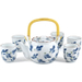 Blue Floral Chinese Teapot & 5 Cups Set
