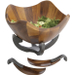 Nambe Anvil Scroll Alloy and Wood Salad Bowl with Servers