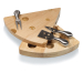 Picnic Time Rubberwood with Bamboo Inlay Swiss Cheese Serving Set