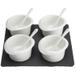 Luigi Bormioli 9 Piece Slate and Porcelain Relish and Dipping Sauce Set