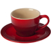 Le Creuset Cherry Stoneware Cappuccino Cup and Saucer Set, Service for 2