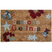 entryways Seasons Greetings with Bells Holiday Theme Hand Woven Coir Doormat