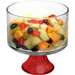Anchor Hocking Presence Glass Footed Trifle Dessert Bowl with Red Base