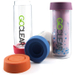 GoClear 18 Ounce Insulated Double Walled Glass Combo Bottle with Assorted Color Silicone Coaster Lid, Set of 2