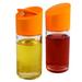 Artland Swivel-Top 8 Ounce Glass Cruet with Orange Plastic Lid, Set of 2