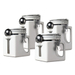 Oggi EZ Grip White Ceramic 4 Piece Canister Set with Stainless Steel Spoons