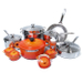 Le Creuset 20 Piece Stainless Steel Cookware Set with Flame Enameled Cast Iron 5.5 Quart French Oven
