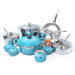 Le Creuset 20 Piece Stainless Steel Cookware Set with Caribbean Enameled Cast Iron 5.5 Quart French Oven