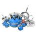 Le Creuset 20 Piece Stainless Steel Cookware Set with Marseille Blue Enameled Cast Iron 5.5 Quart French Oven