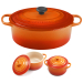 Le Creuset Signature Flame Enameled Cast Iron 9.5 Quart Oval French Oven with 2 Free Stoneware Cocottes