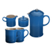 Le Creuset Marseille Blue Stoneware 5 Piece Coffee Service Set with Mugs and Cream & Sugar Set