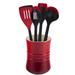 Le Creuset Cherry Stoneware 1 Quart Utensil Crock with Revolution Cherry Utensil Set