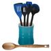 Le Creuset Caribbean Stoneware 1 Quart Utensil Crock with Revolution Marseille Blue and Beechwood Utensil Set