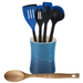 Le Creuset Marseille Blue Stoneware 1 Quart Utensil Crock with Revolution Marseille Blue and Beechwood Utensil Set