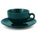 Metropolitan Tea Green Ceramic Teacup and Saucer Set