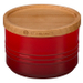 Le Creuset Cherry Stoneware 12 Ounce Canister with Wooden Lid
