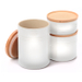 Le Creuset White Stoneware 3 Piece Canister with Wooden Lid Set