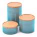 Le Creuset Caribbean Stoneware 3 Piece Canister with Wooden Lid Set
