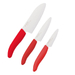 Kyocera Revolution 3 Piece Ceramic Chef's Knife Set with Red Handles
