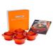 Le Creuset Set of 4 Flame Stoneware Mini Cocottes and Cookbook