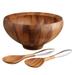 Nambe Yaro Wooden 4 Quart Salad Bowl with Servers