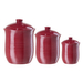 Oggi Red Ribbed Ceramic Food Storage Canisters, Set of 3
