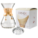Chemex Classic Wood Collar and Tie Glass 40 Ounce Coffee Maker with Cover and 100 Count Bonded Unbleached Pre-Folded Square Coffee Filters
