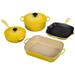 Le Creuset 6 Piece Signature Soleil Yellow Enameled Cast Iron Cookware Set