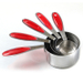 RSVP Endurance Splash 18/10 Stainless Steel Measuring Cups with Red Grip
