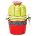 Boston Warehouse Figural Fun Earthenware Potted Cactus Hinged Jar