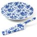 Cordon Bleu Porcelain Floral Cake Platter and Server