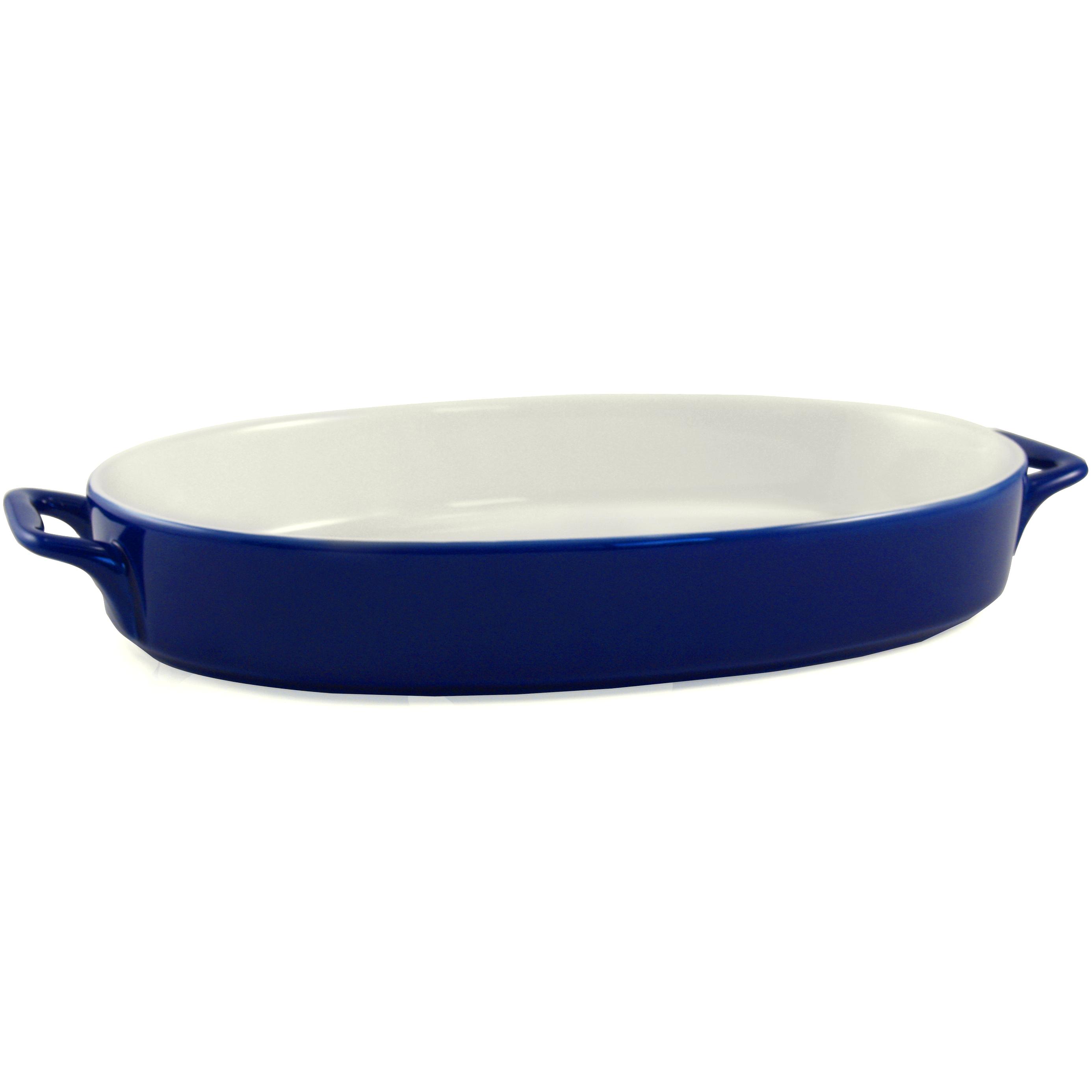 Blue Ceramic 14 Inch Oval Baker