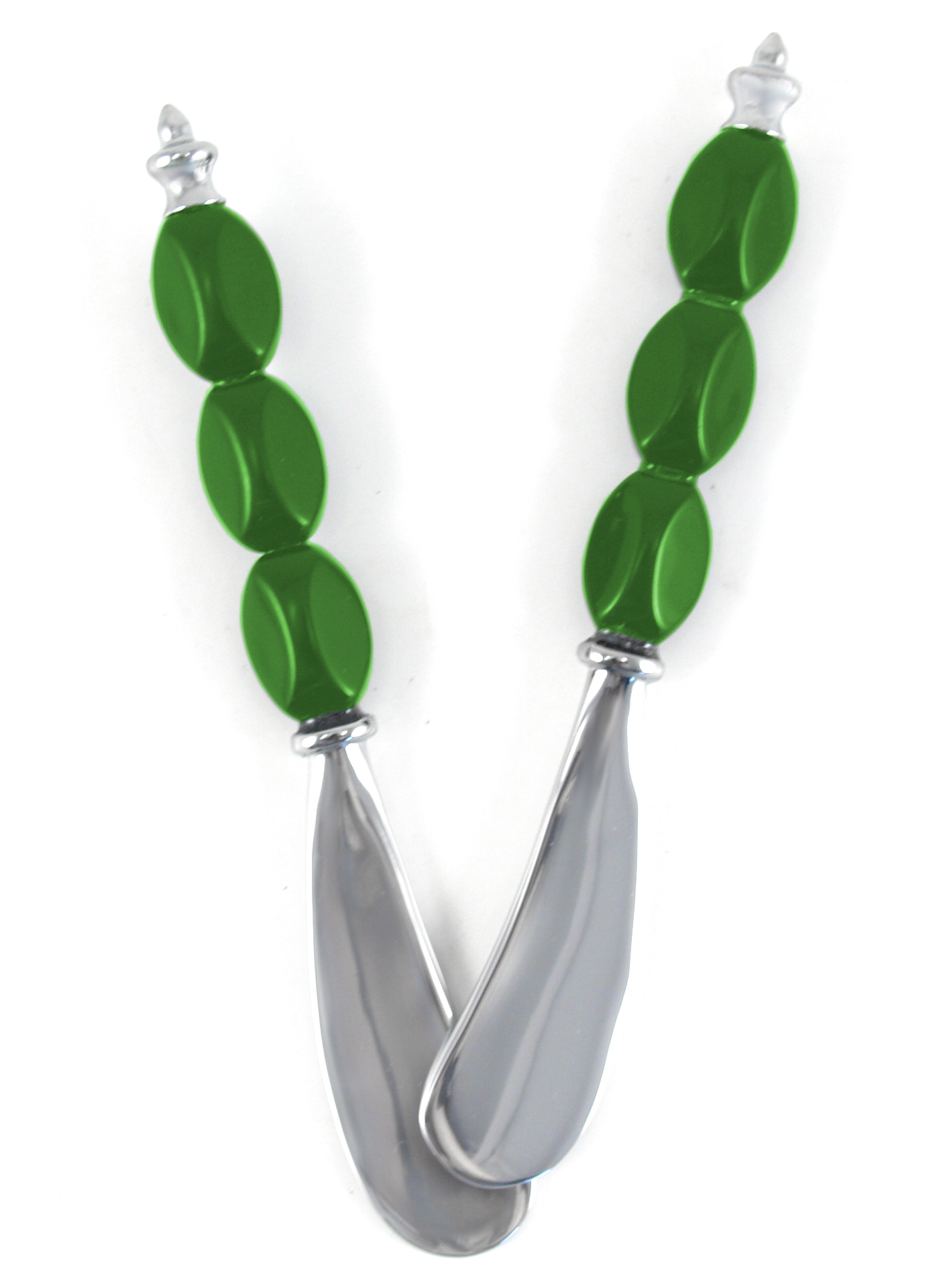Polished Stainless Steel Spreader with Green Handle, Set of 2