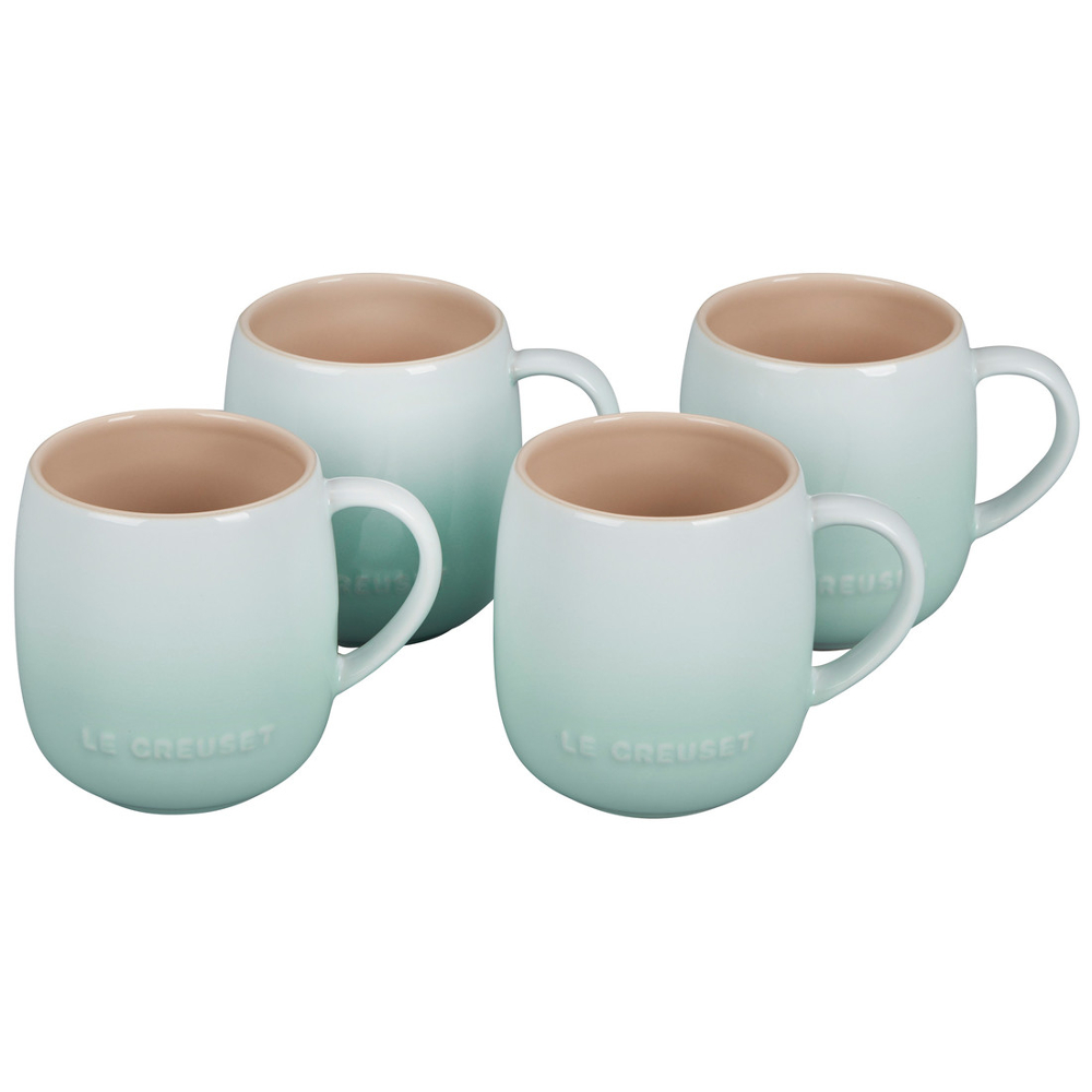 Le Creuset Cafe Collections Enameled Stoneware Ice Green 13 Ounce Mug, Set of 4
