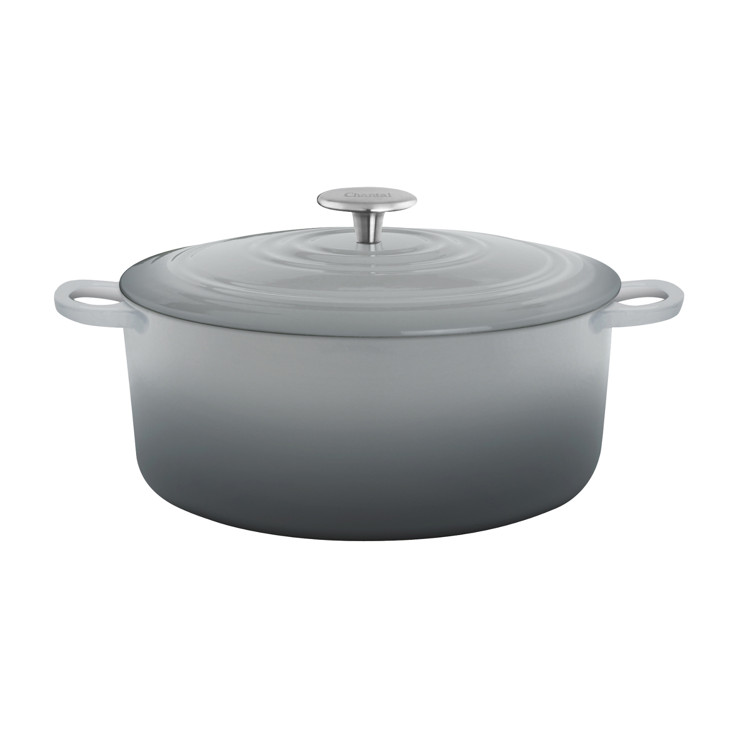 Chantal Fade Grey Round Cast Iron Casserole Dish