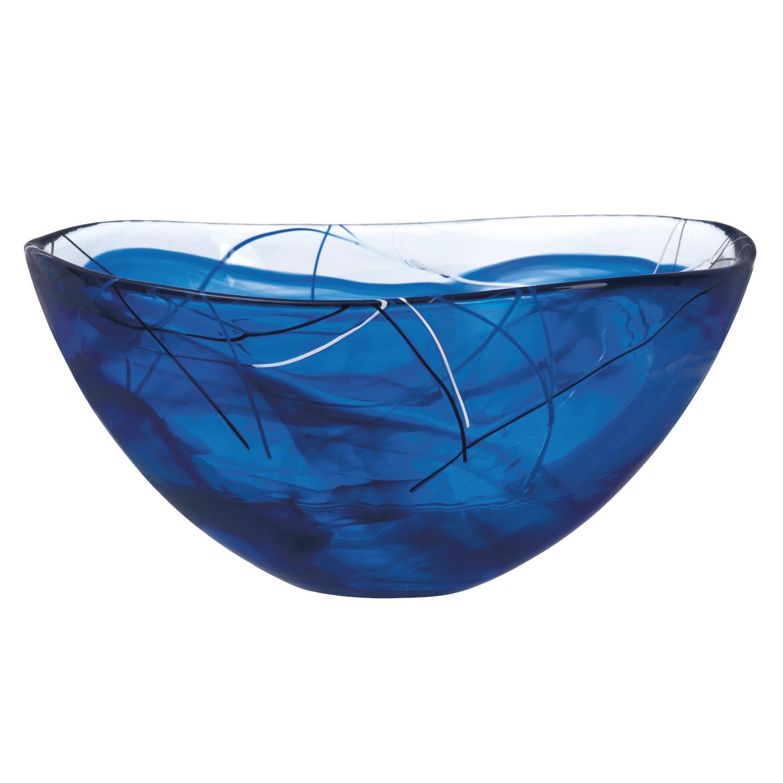 Kosta Boda Contrast Blue Glass 13.75 Inch Large Bowl