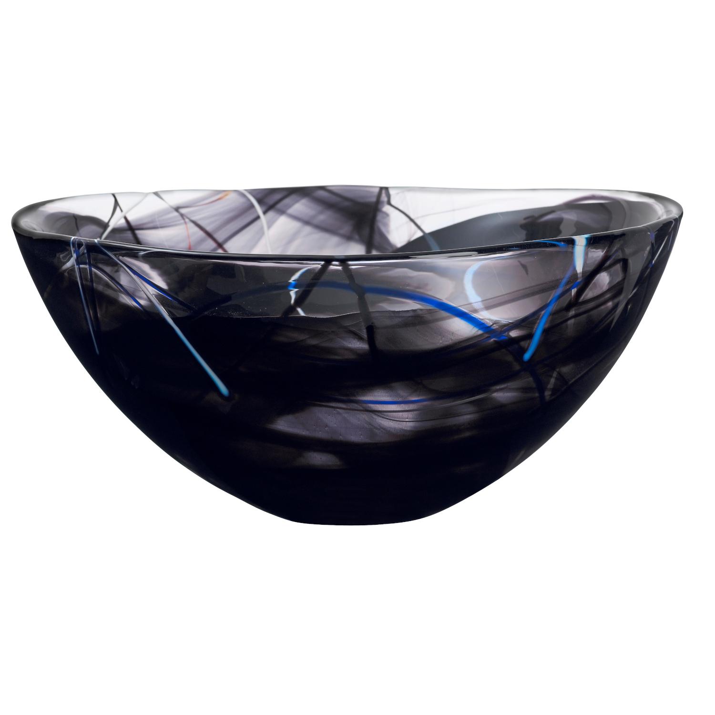 Kosta Boda Contrast Black Glass 13.75 Inch Large Bowl