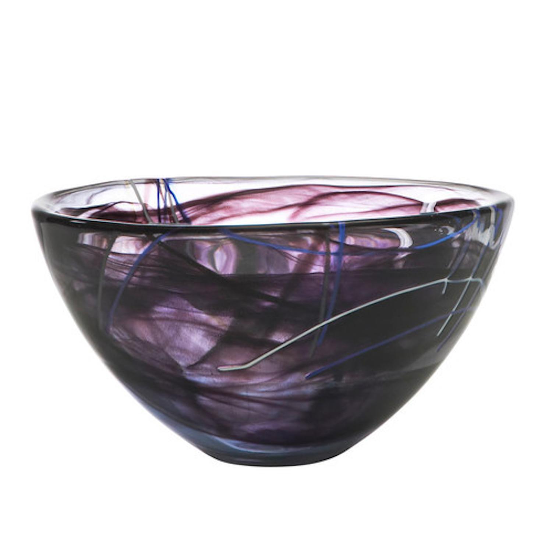 Kosta Boda Contrast Black Glass 9 Inch Medium Bowl