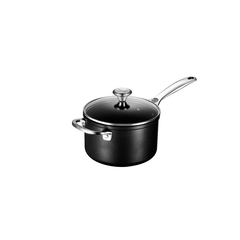 Le Creuset Toughened Nonstick Pro Anodized Aluminum 3 Quart Saucepan with Lid