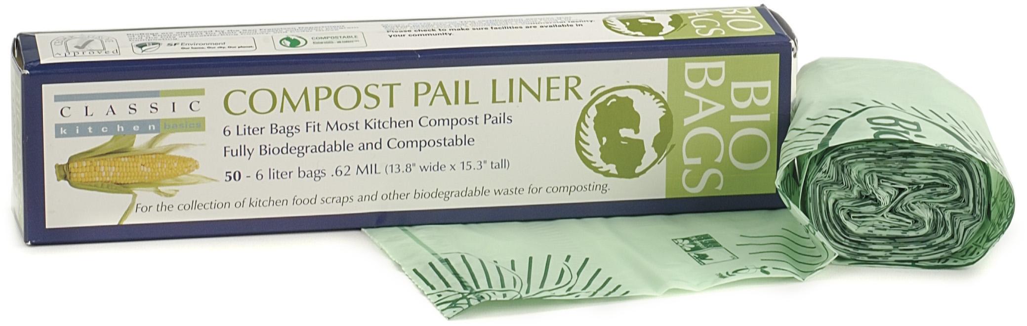Biodegradable Plastic Compost Liner 6 Liter 50 Count