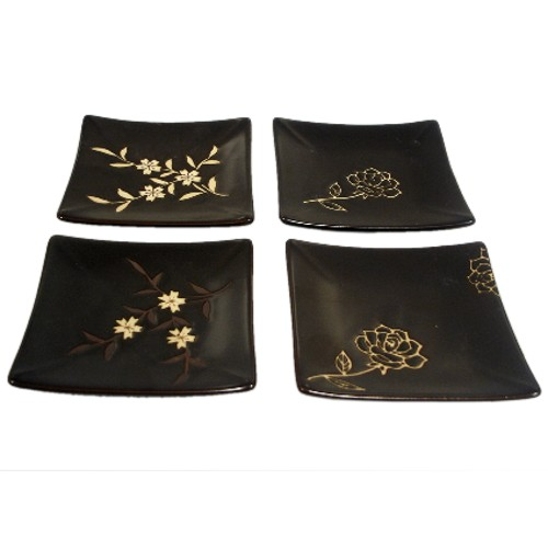 Japanese Blossom Ceramic 4pc Dish for Sushi Apps Tapas
