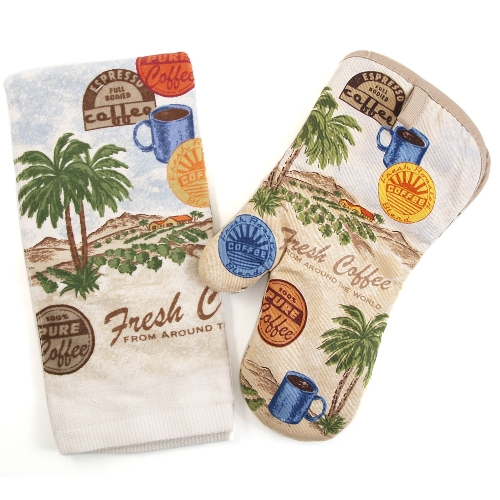 Fresh Coffee Palm Trees 2 Piece Kitchen Towel and Mitt Set