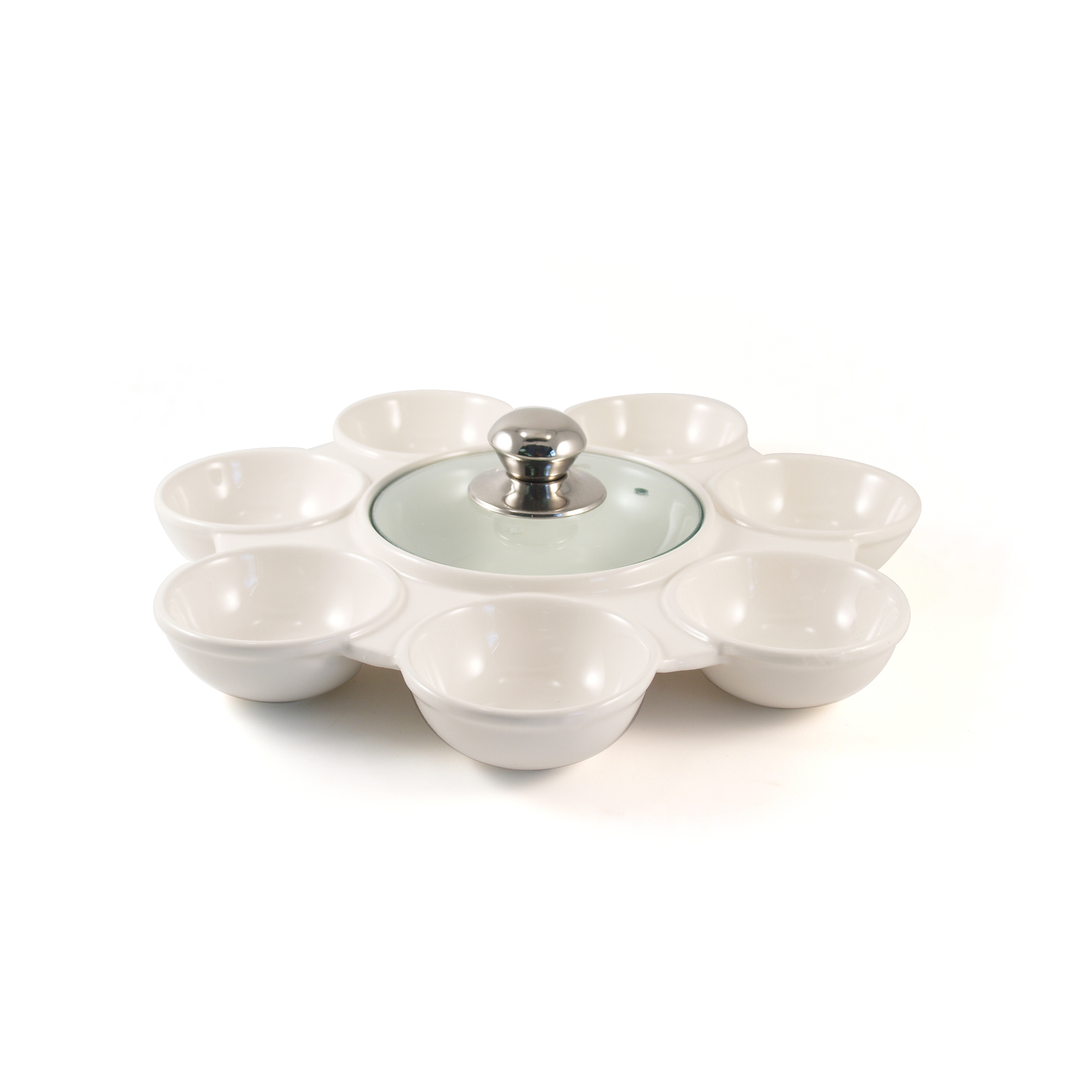 Dip-able 8 Section Ceramic Snack Serving Tray with Glass Lid