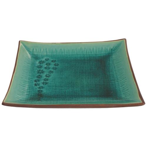 "Large 10"" Green Flower Asian Porcelain Serving Plate"