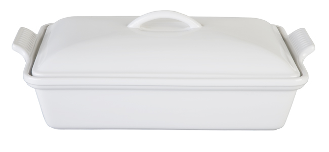 Le Creuset Heritage White Stoneware Covered Rectangular Casserole Dish, 4 Quart