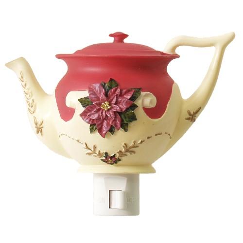 Holiday Poinsettia 2 Piece Teapot Night Light Set