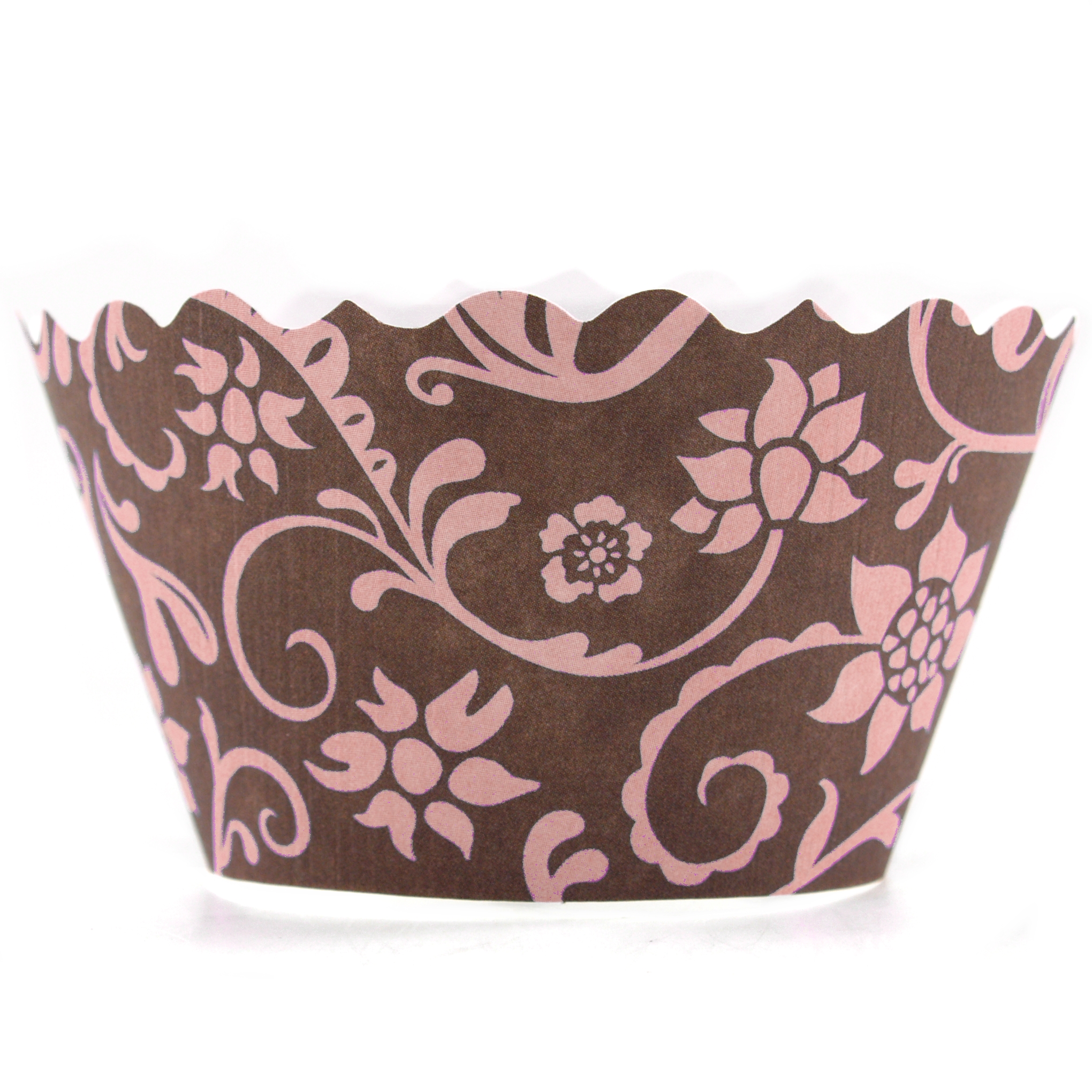 Bella Cupcake Couture Hannah Pink and Brown Cupcake Wrapper, Set of 12