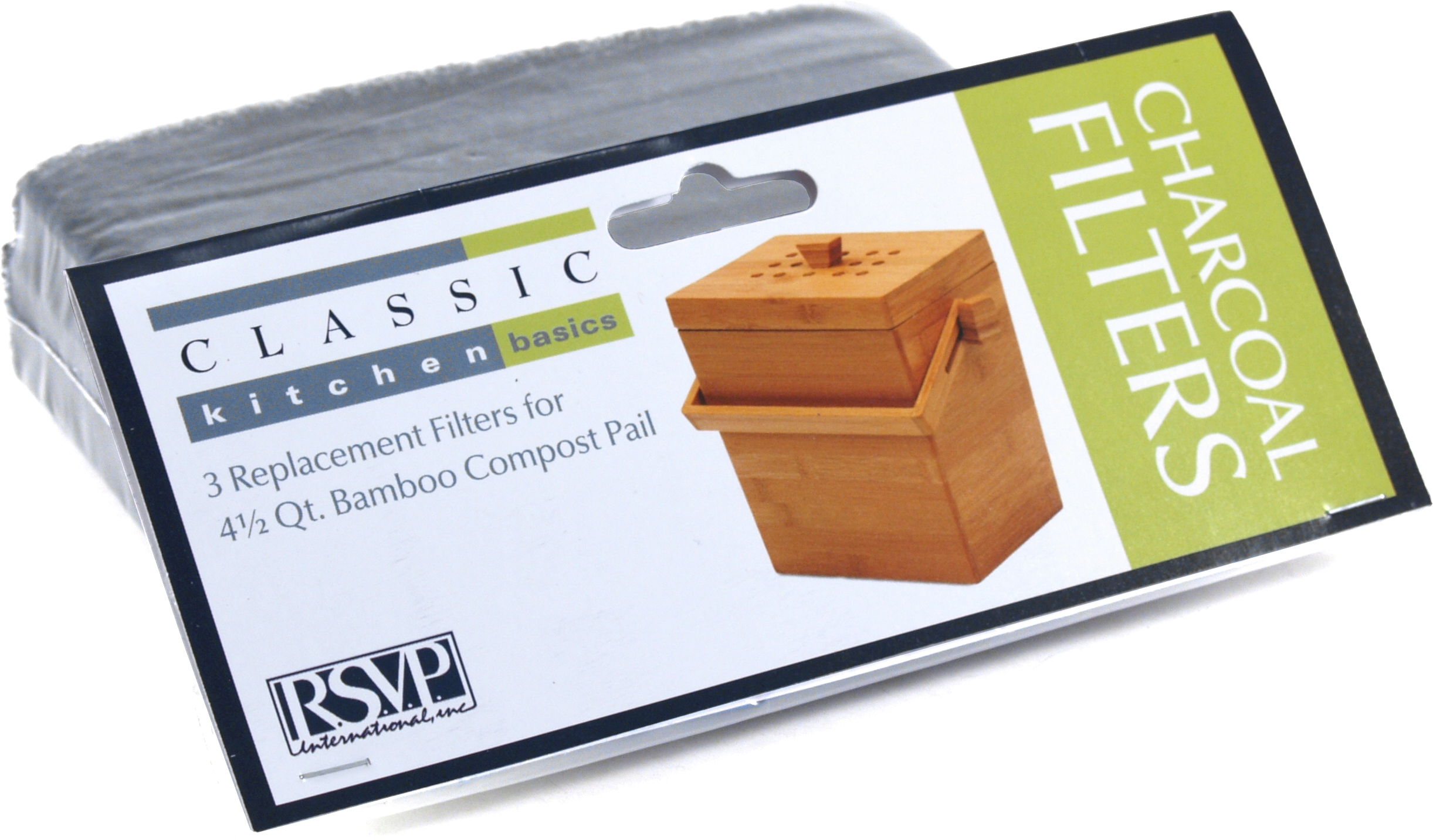 RSVP Replacement Charcoal Filters for 4.5 Quart Bamboo Compost Pail, Set of 3
