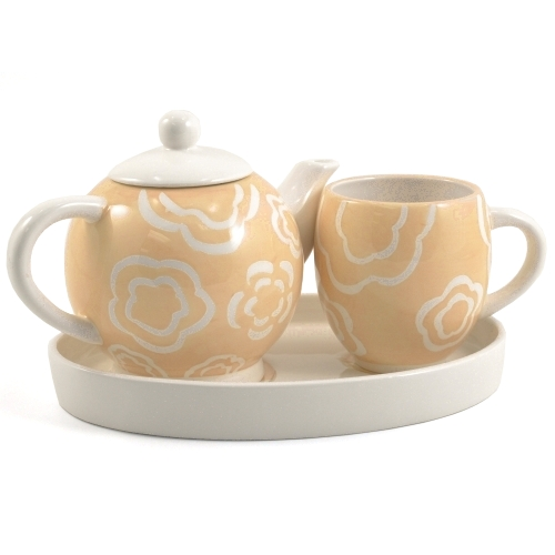 Peach Poppies Ceramic Tea For Me 4 Piece Set