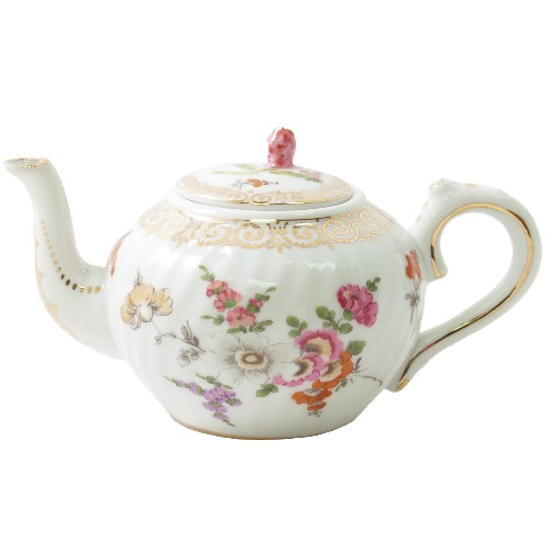 Collectible Floral Gold Leafed Miniature Teapot